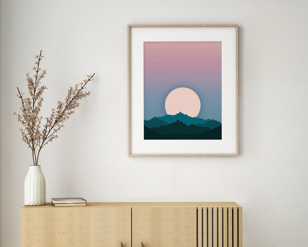 Aeroplanes in the Distance Landscape Wall Art Print