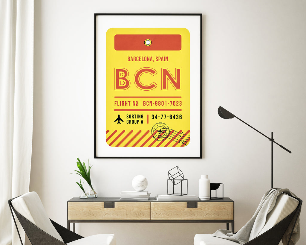 Barcelona, Spain Luggage Tag Minimal Travel Poster