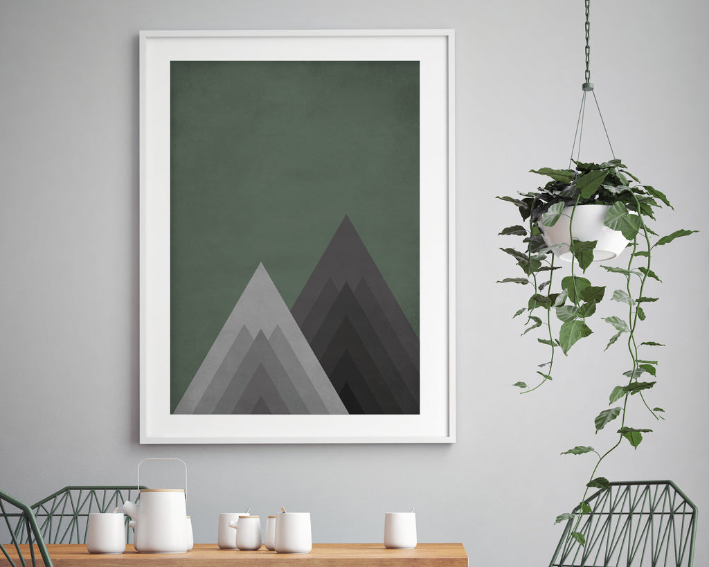 Green Geometric Mountains Wall Art Print