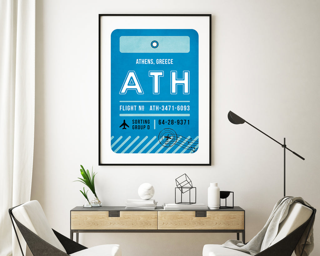 Athens, Greece Luggage Tag Minimal Travel Poster