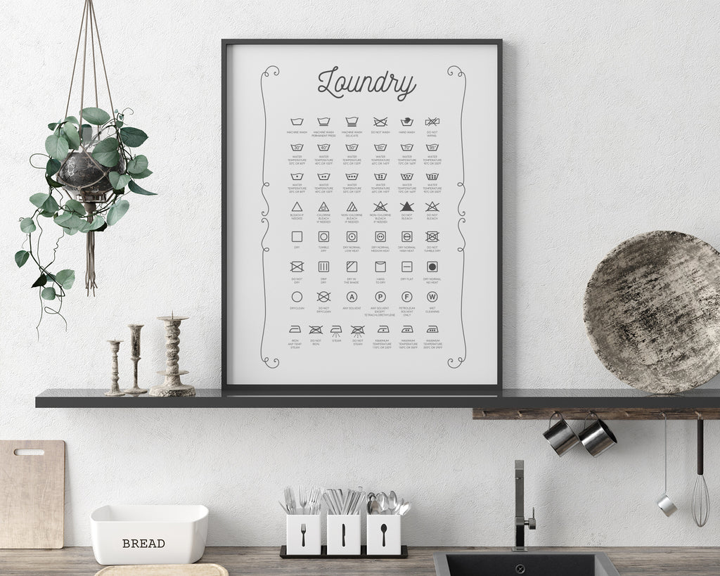 Laundry Symbol Conversion Chart Poster | Affordable Laundry Room Print