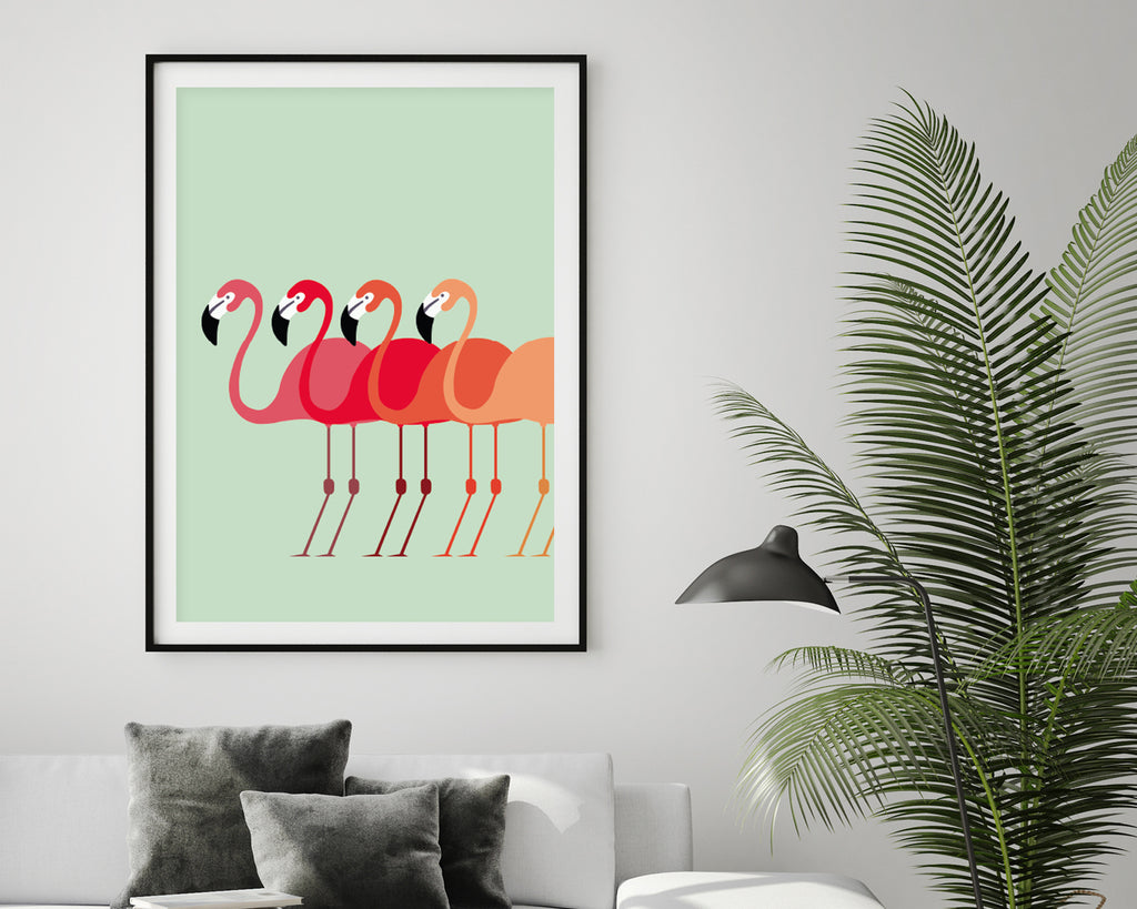 Flamingo Flock Minimal Art Print