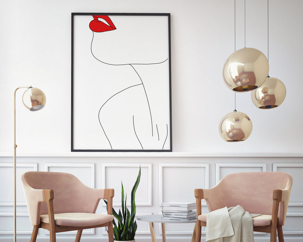 Woman's Red Lips Line Art Wall Print