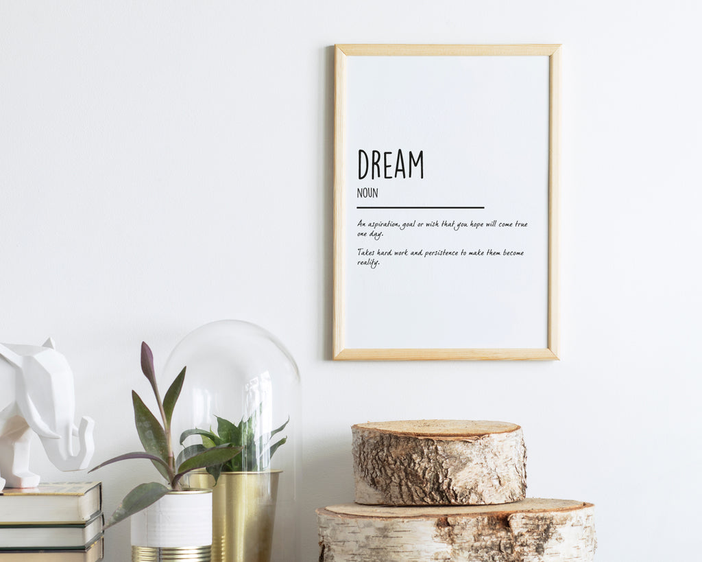 Dream Definition Quote Wall Art Print