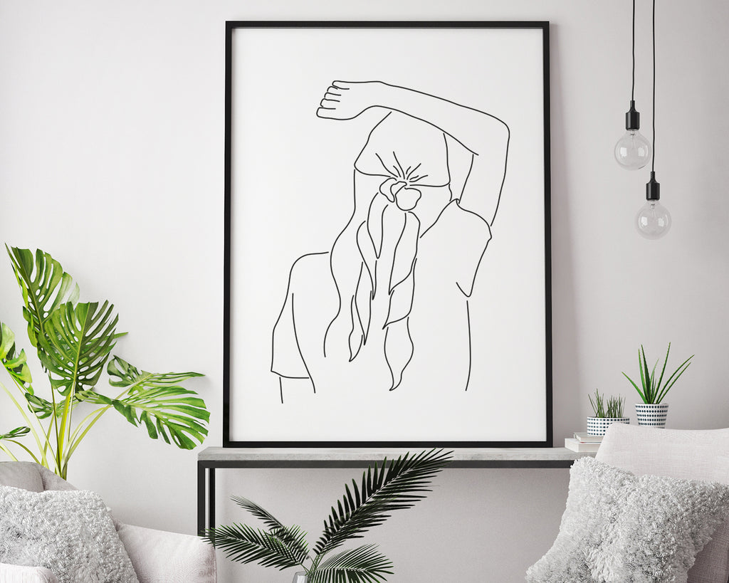 Girl Power Line Art Wall Print