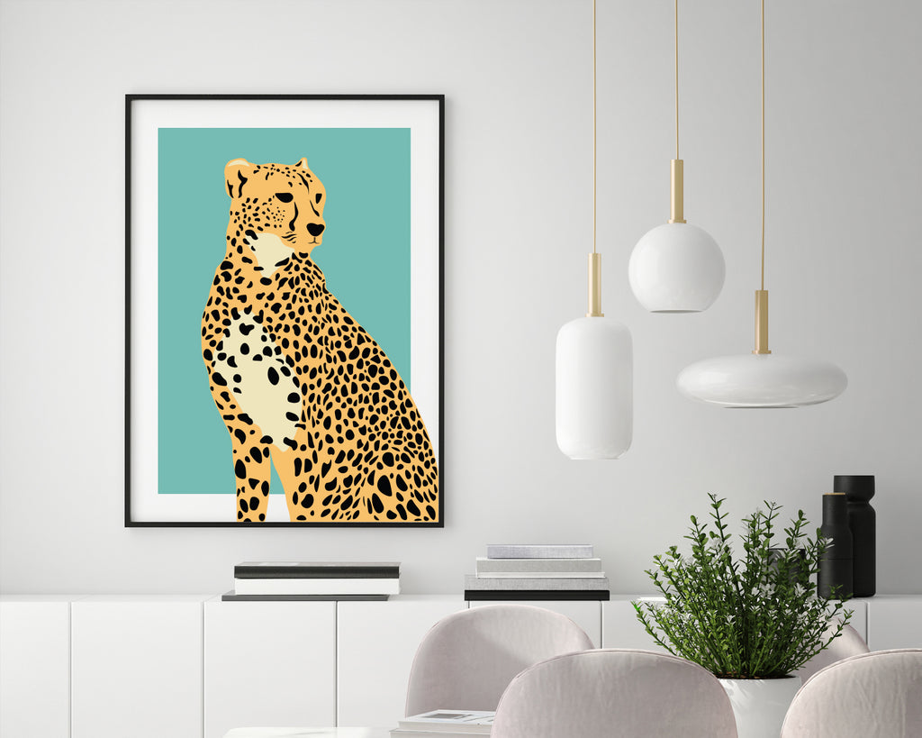 Cheetah Minimal Art Print