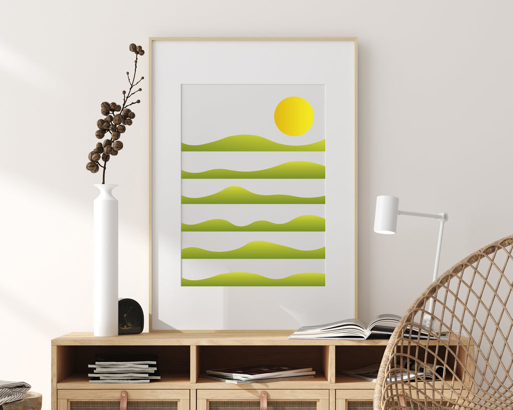 Layered Hills Over Sunrise Landscape Wall Art Print