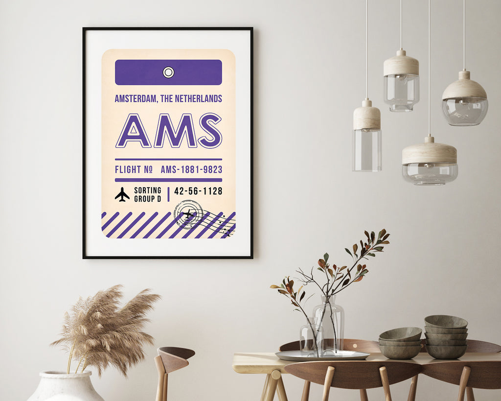 Amsterdam, The Netherlands Luggage Tag Travel Wall Art Print