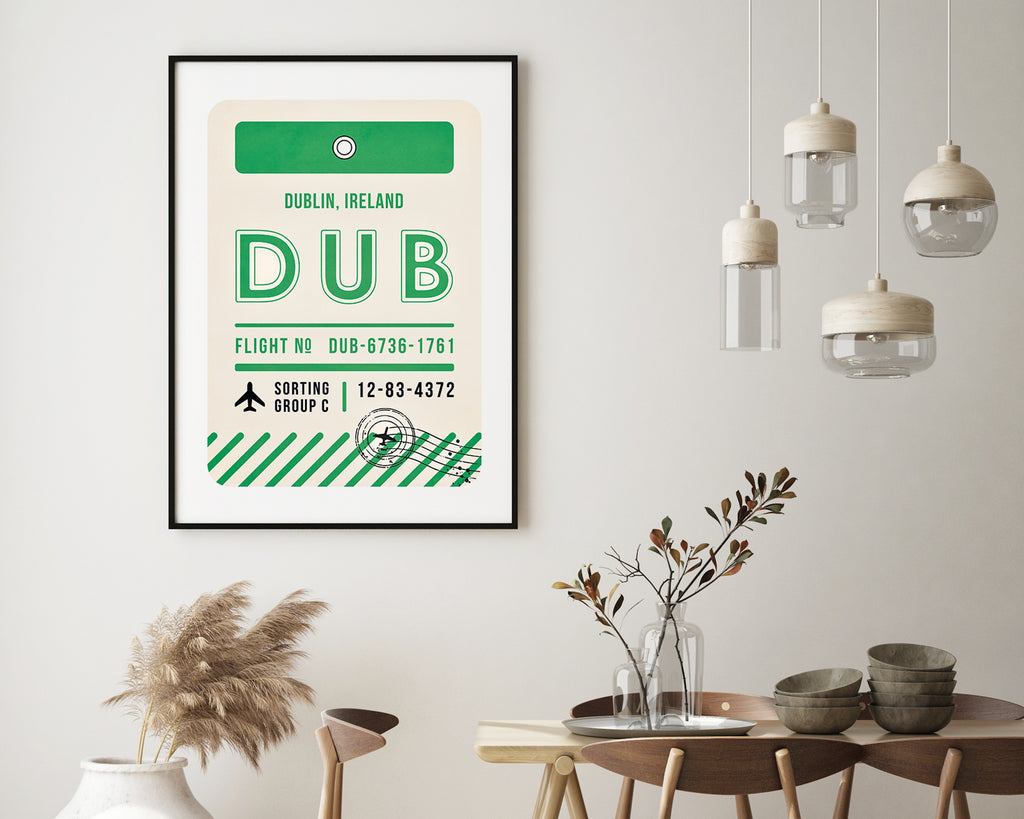Dublin, Ireland Luggage Tag Minimal Travel Poster