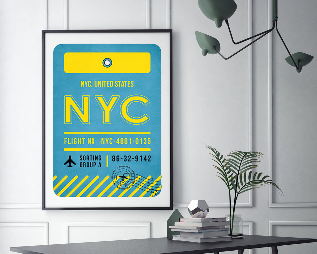 New York City, United States Luggage Tag Travel Poster