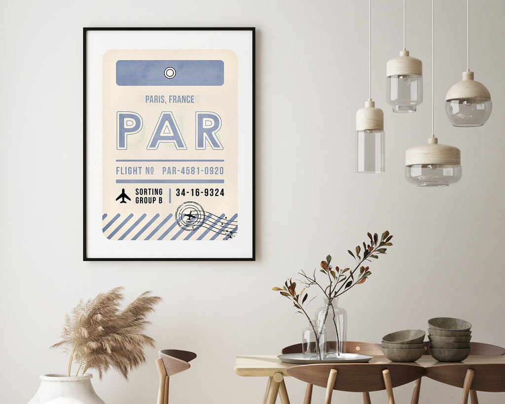 Paris, France Luggage Tag Minimal Travel Poster