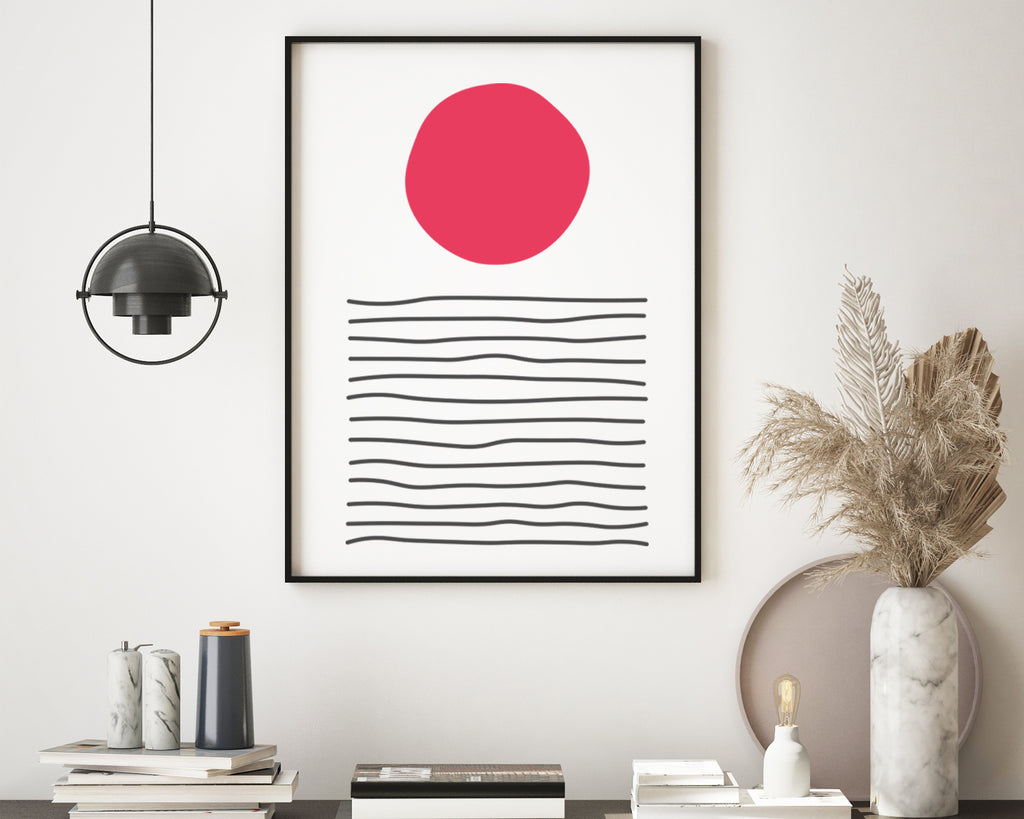 Line Art Sunset Abstract Landscape Art Print