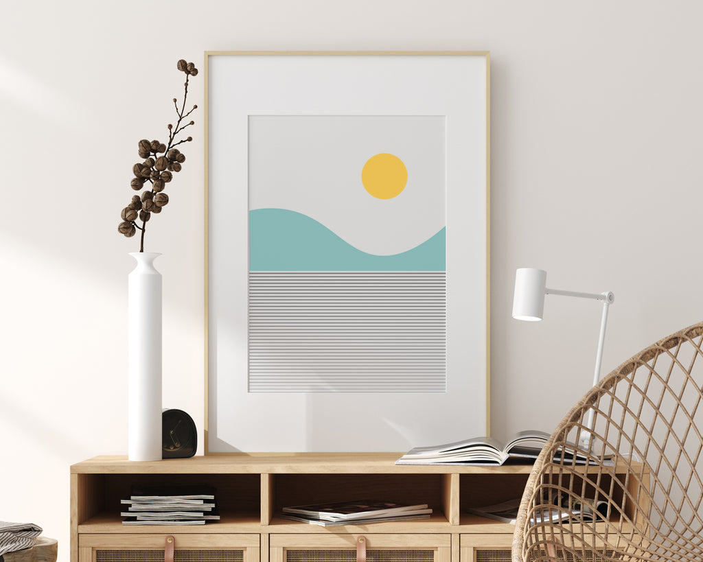 Line Art Lake Mountain Landscape Wall Art Print