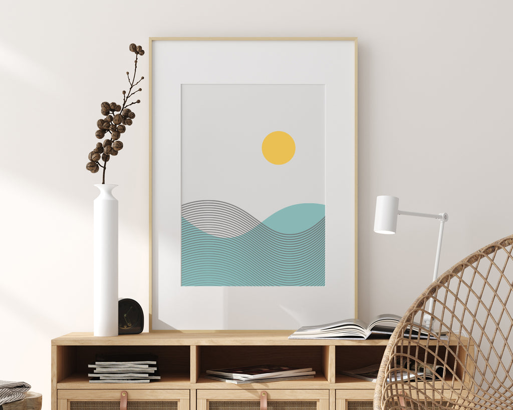 Line Art Wave Mountain Landscape Art Print