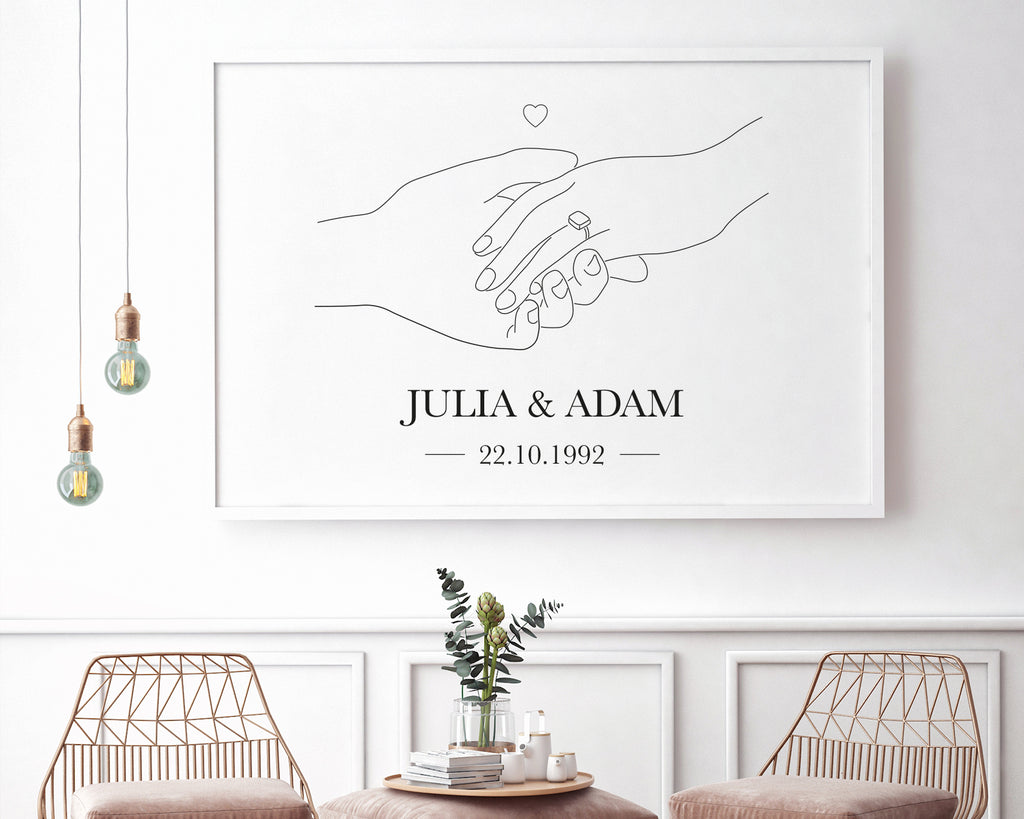 Personalised Engagement Memento Line Art Black & White Print