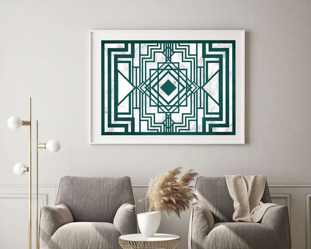 Art Deco Geometric Emerald Art Print