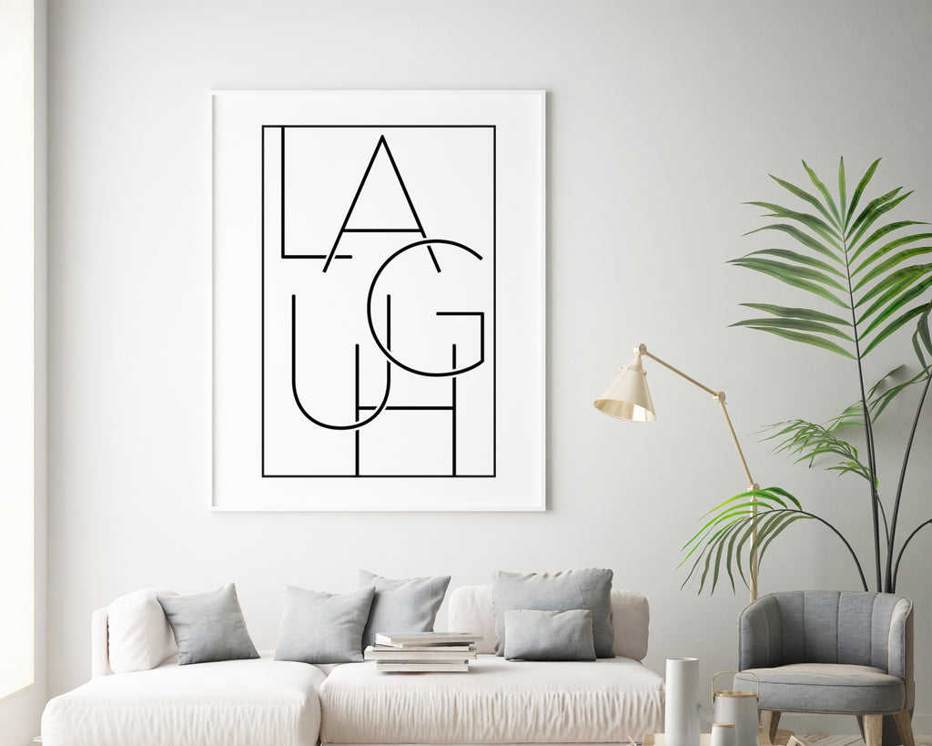 Laugh Typography Quote Minimal Poster Print