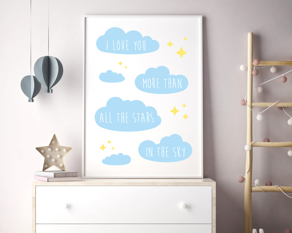 I Love You More Than All The Stars In The Sky Quote Minimal Poster
