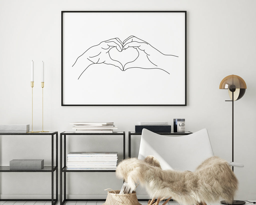 Friendship Heart Hands Minimal Line Art Print
