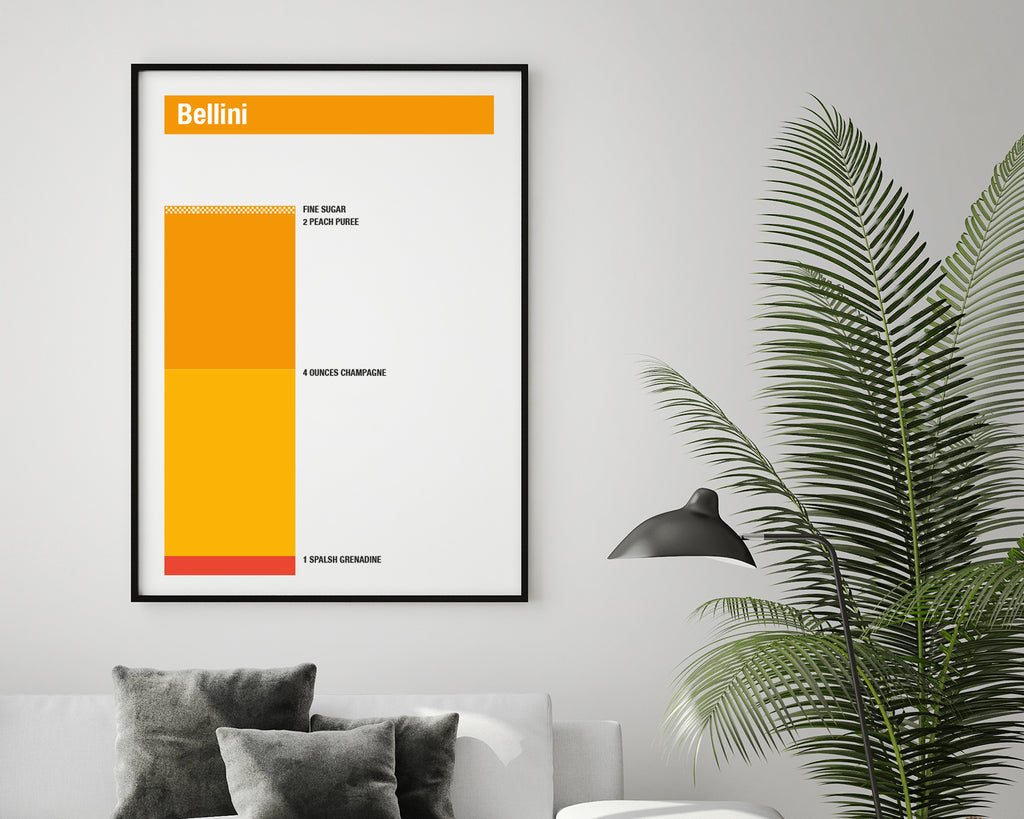 Bellini Cocktail Recipe Minimal Drink Poster