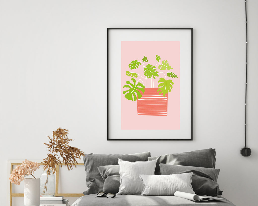 Illustrated Cheese Plant Minimal Plant Poster