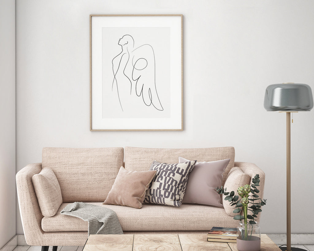 Guardian Angel Line Art Wall Print
