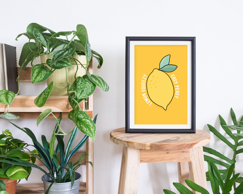 Easy Peasy Lemon Squeezy Quote Print | Affordable Kitchen Wall Art