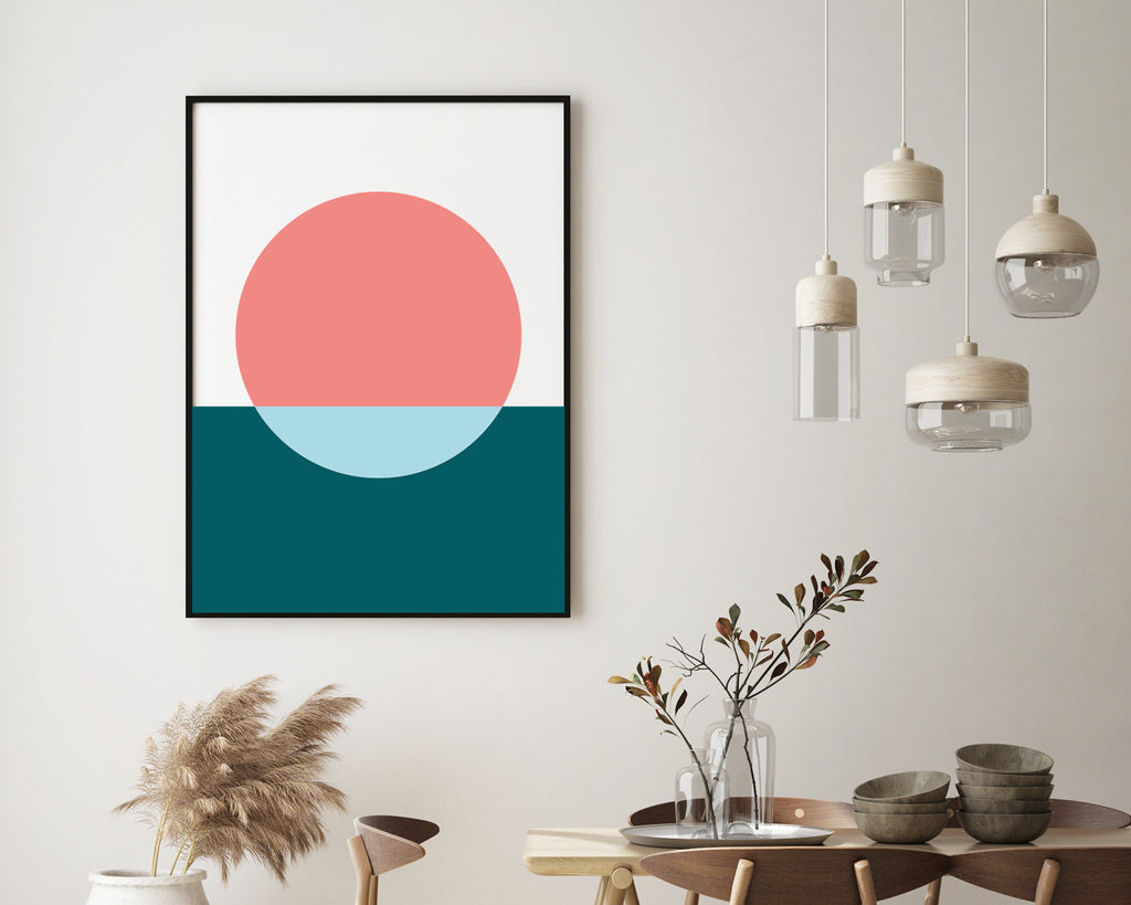 Two Tone Circle Composition Minimal Poster