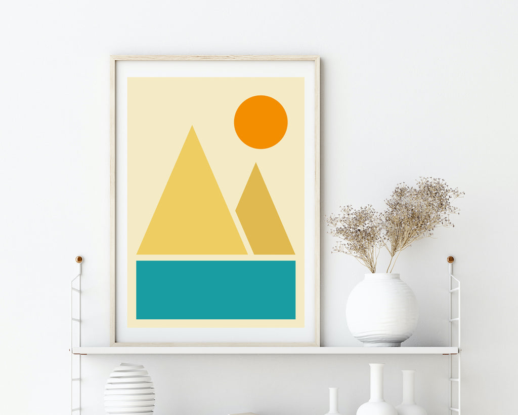 Abstract River Mountains Landscape Art Print