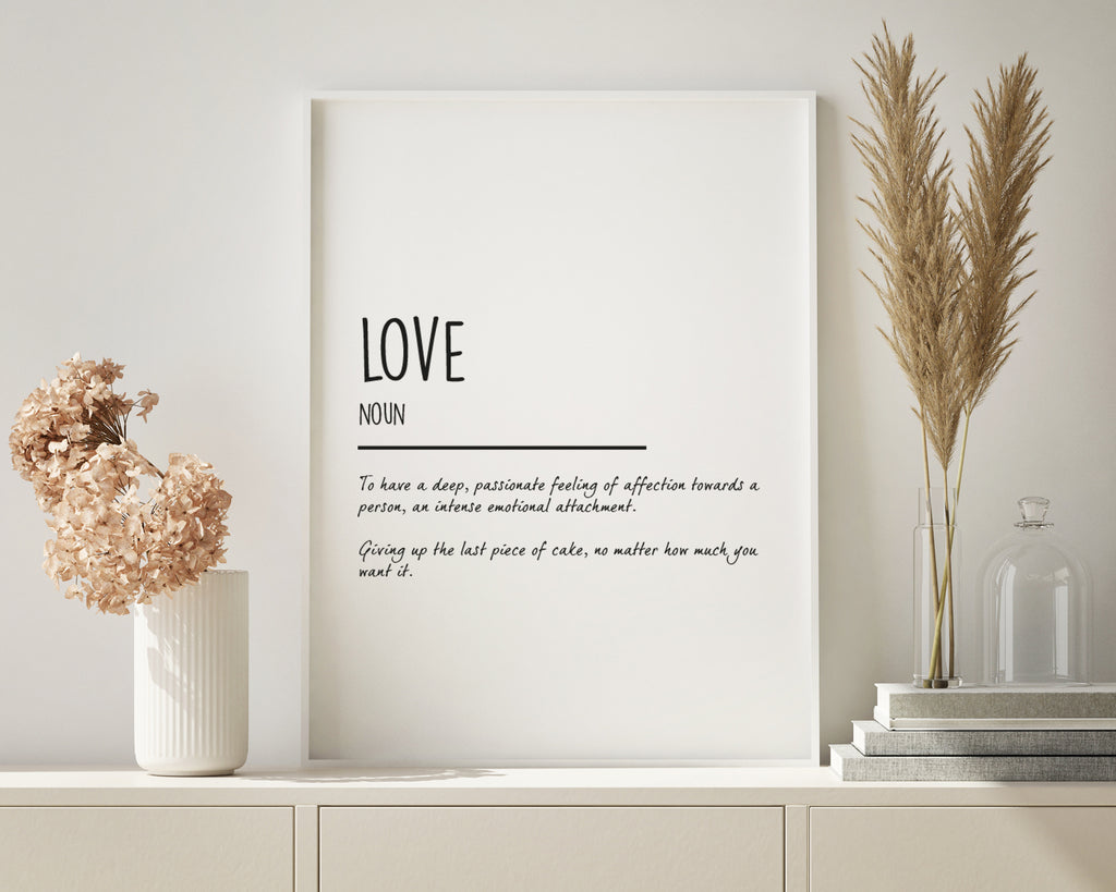 Love Definition Quote Wall Art Print