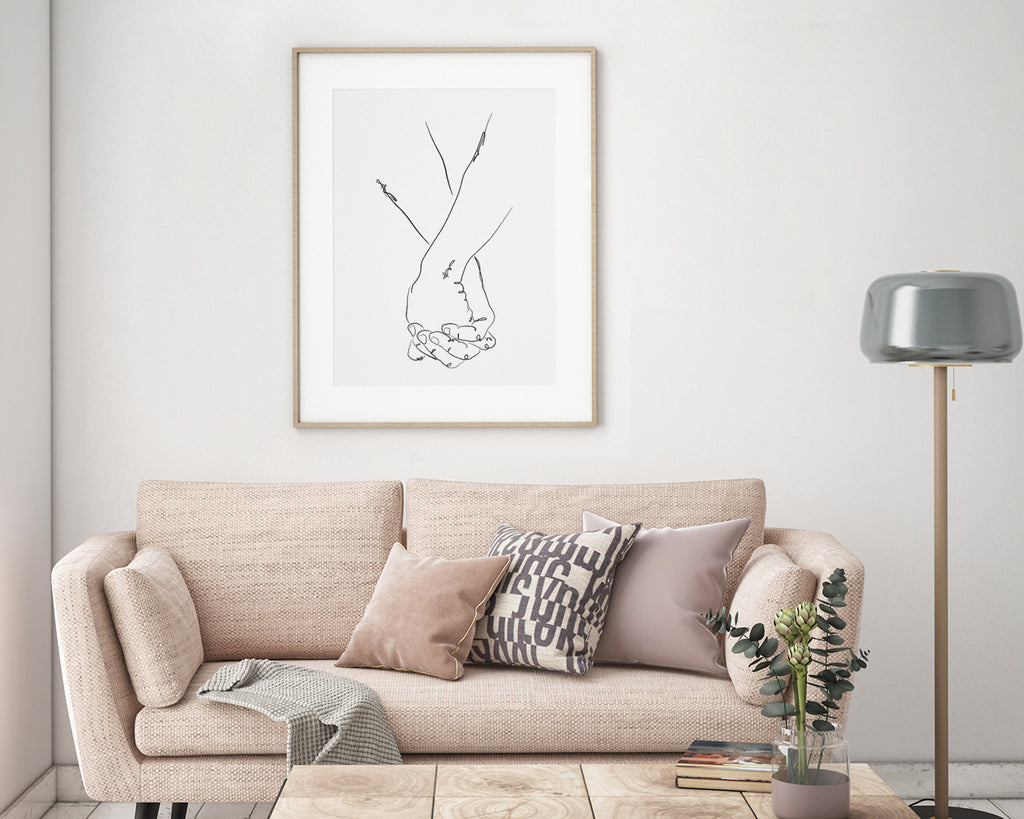 Holding On Minimal Line Art Print