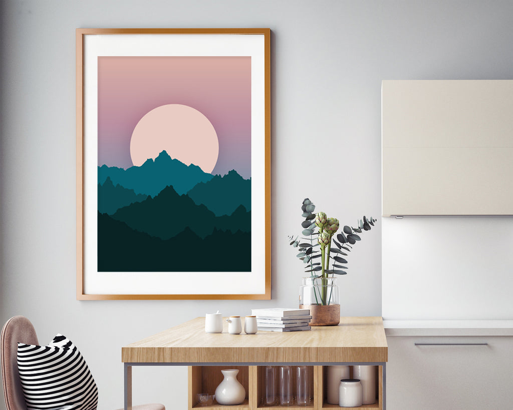 Pastel Mountain Range At Sunset Landscape Wall Art Print