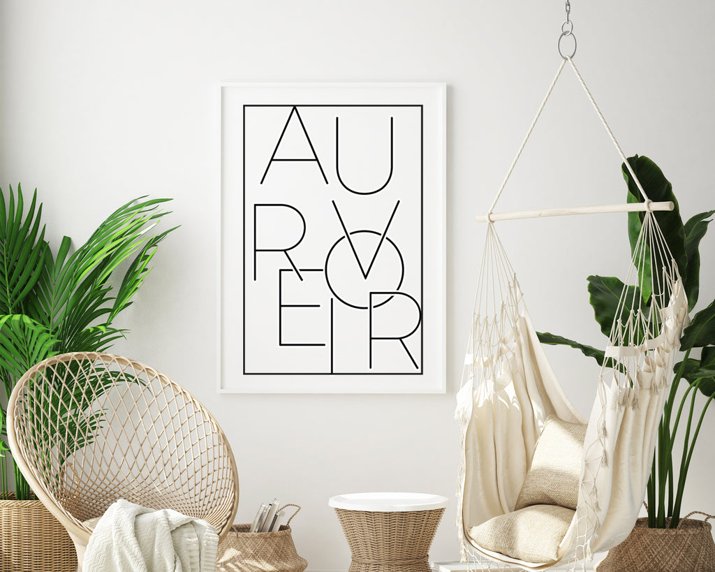 Au Revoir Typography Quote Wall Art Print