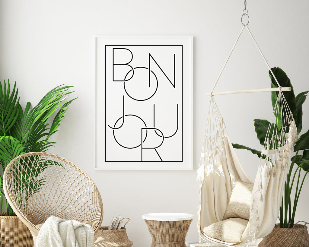 Bonjour Typography Quote Minimal Poster Print