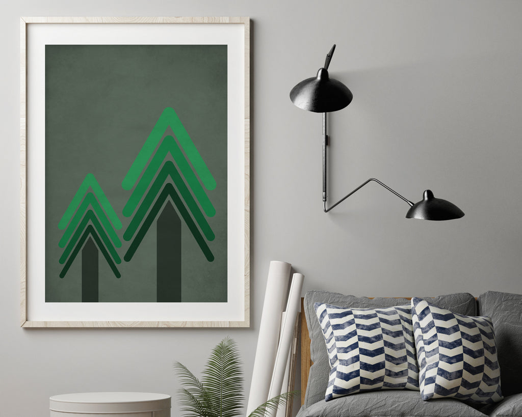 Green Geometric Trees Wall Art Print