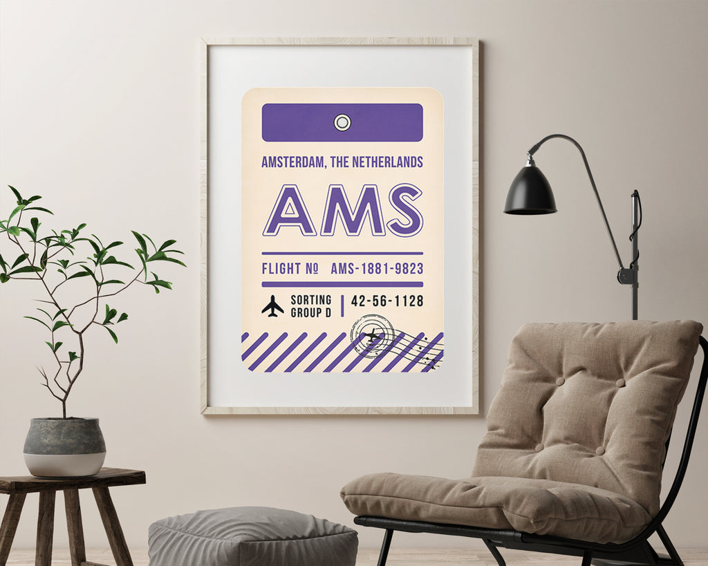 Amsterdam, The Netherlands Luggage Tag Minimal Travel Poster