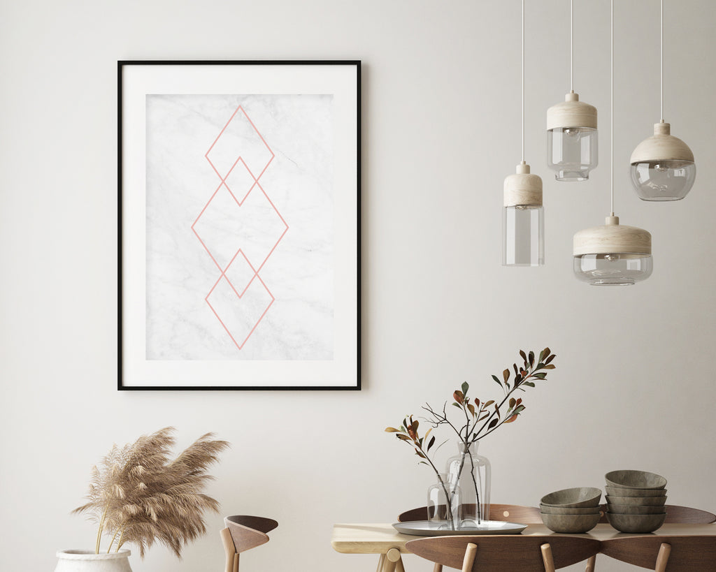 Marble and Rose Gold Diamond Art Print