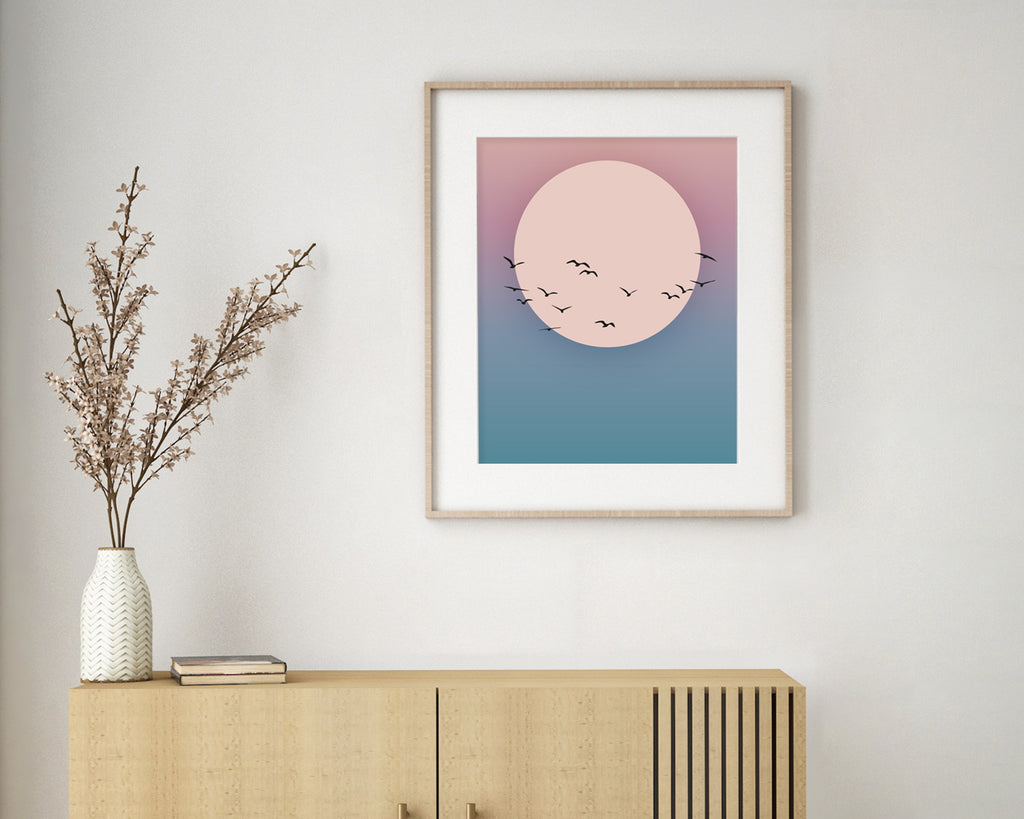 Flying Birds Over The Sunset Landscape Wall Art Print