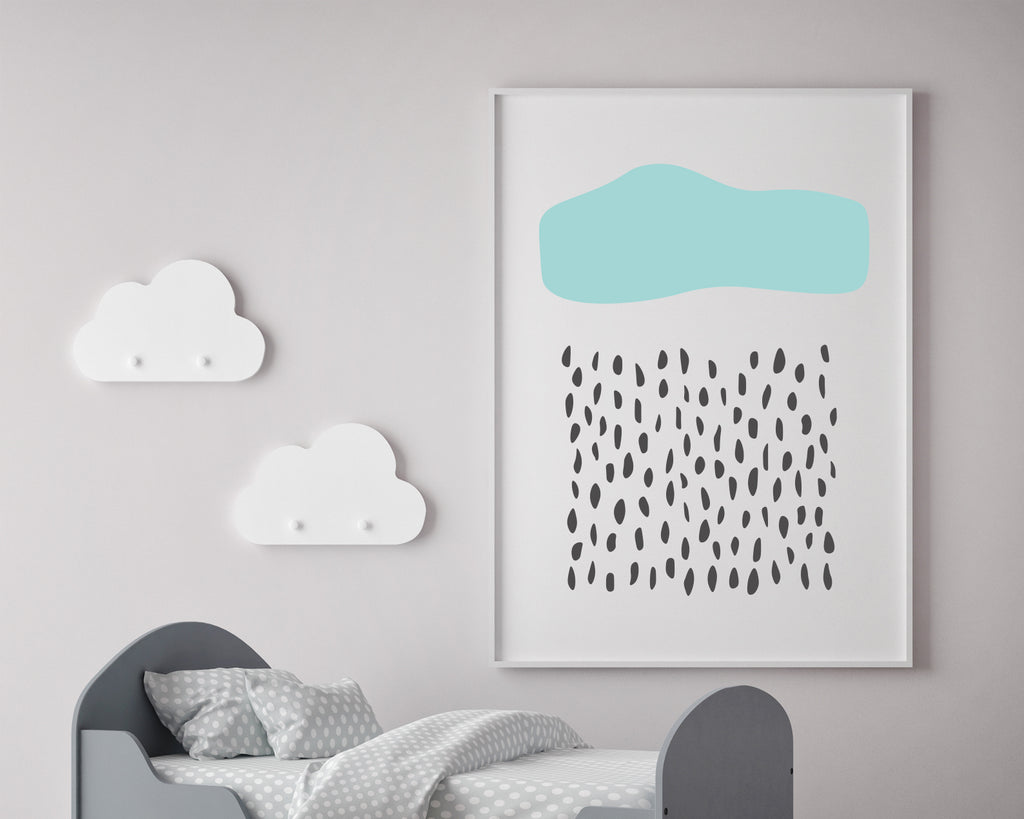 Line Art Rain Cloud Landscape Art Print