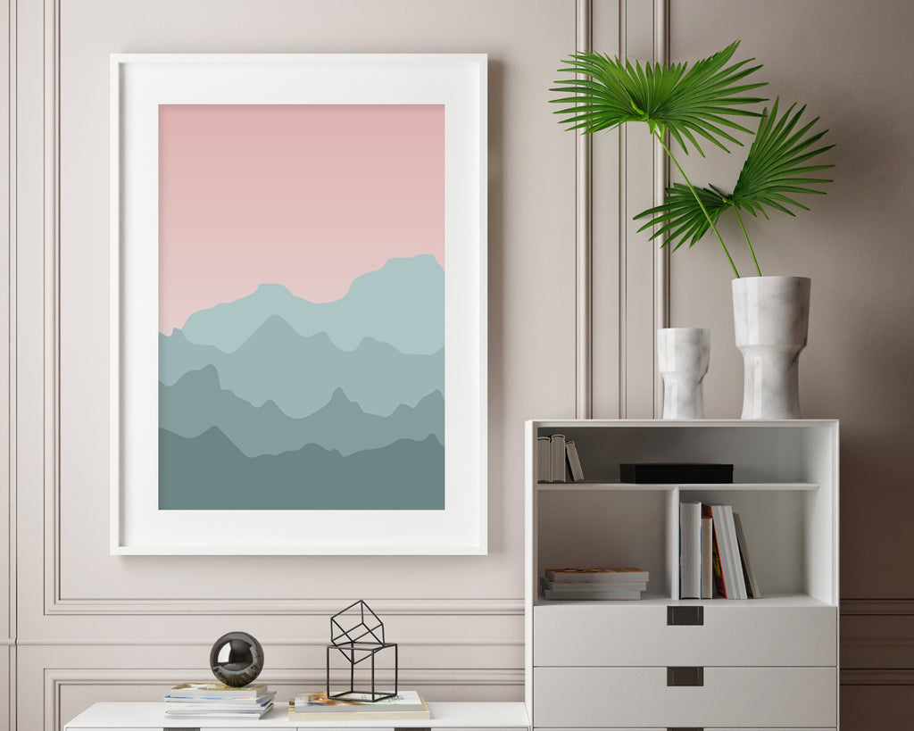 Pastel Mountain Landscape Wall Art Print