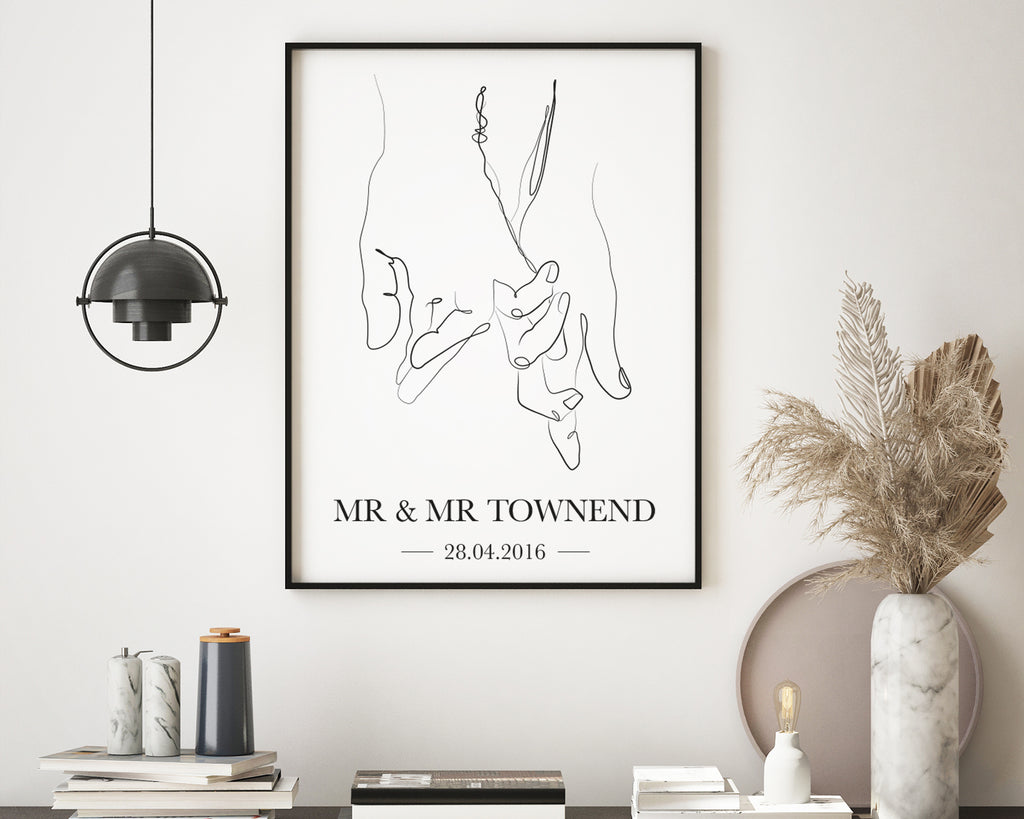 Personalised Holding Hands Line Art Black & White Prin