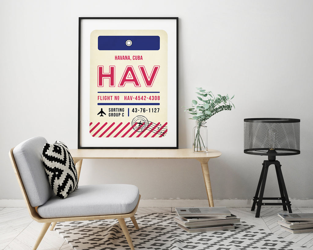 Havana, Cuba Luggage Tag Minimal Travel Poster