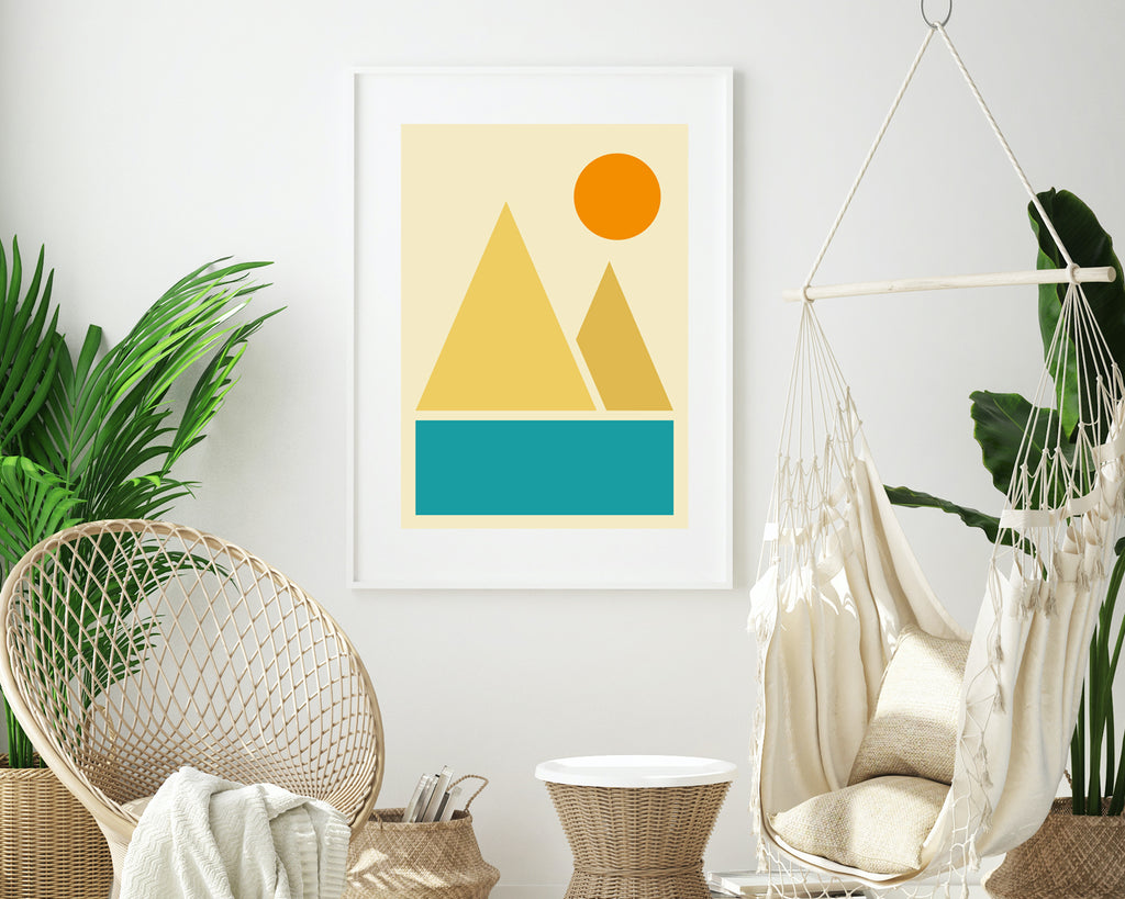 Abstract River Mountains Landscape Wall Art Print