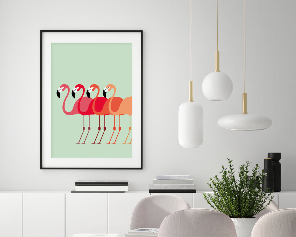 Flamingo Flock Wall Art Print