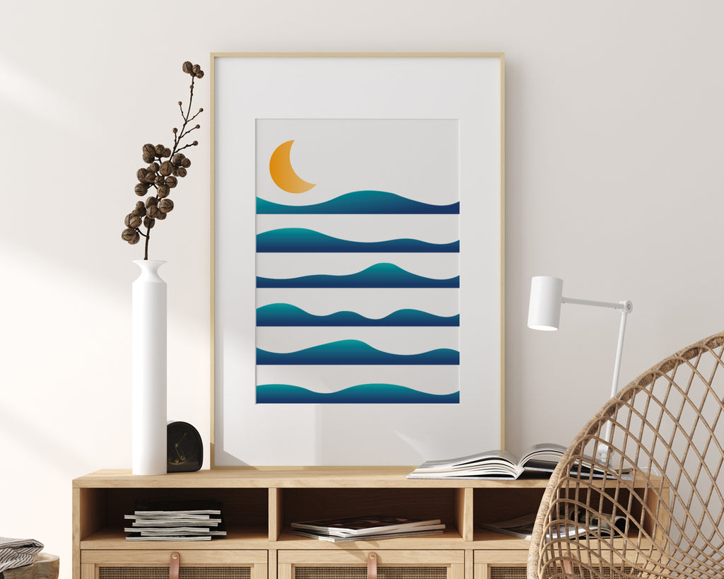Layered Waves Over The Moon Landscape Wall Art Print
