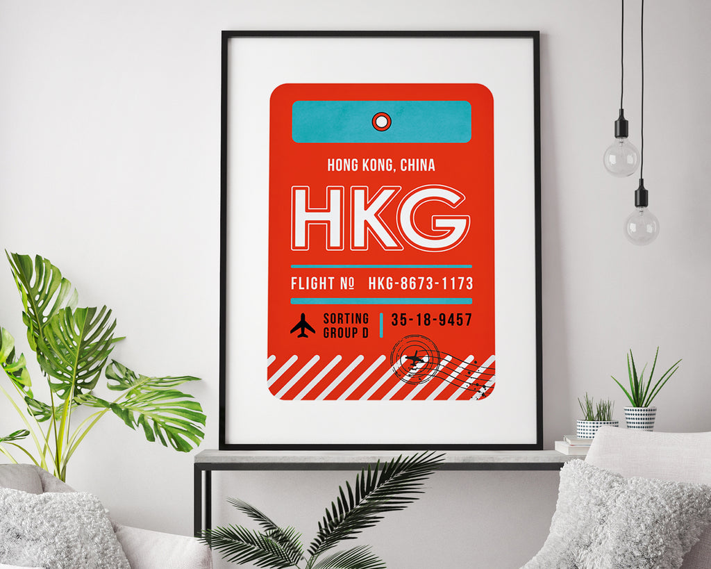 Hong Kong, China Luggage Tag Minimal Travel Poster