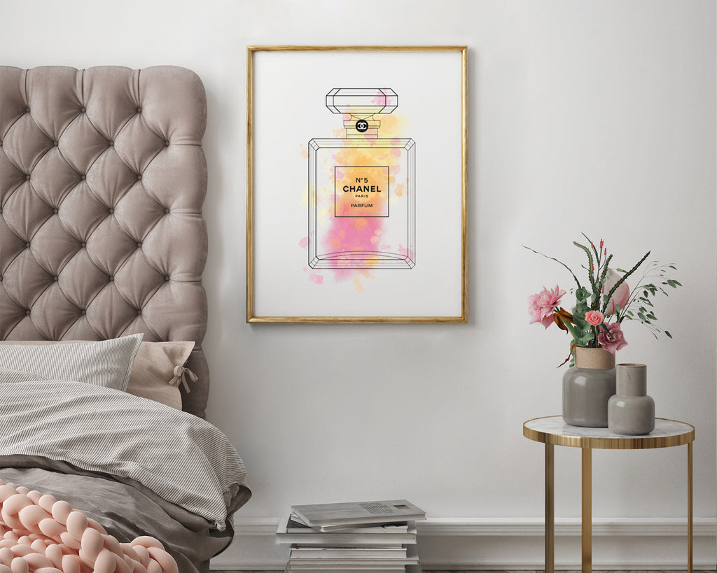 Chanel No.5 Perfume Bottle Watercolour Minimal Line Art Print