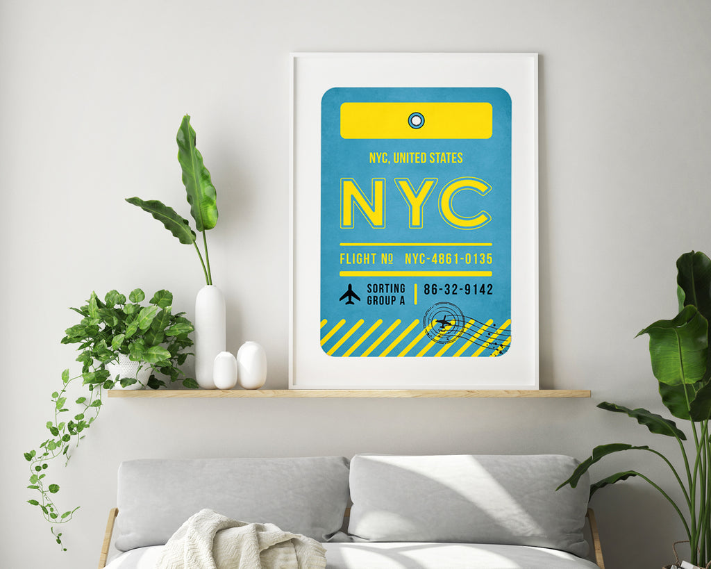New York City, United States Luggage Tag Minimal Travel Poster