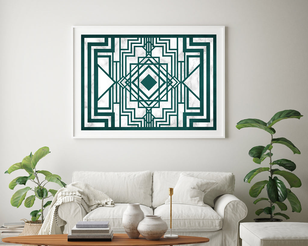 Art Deco Geometric Emerald Wall Art Print