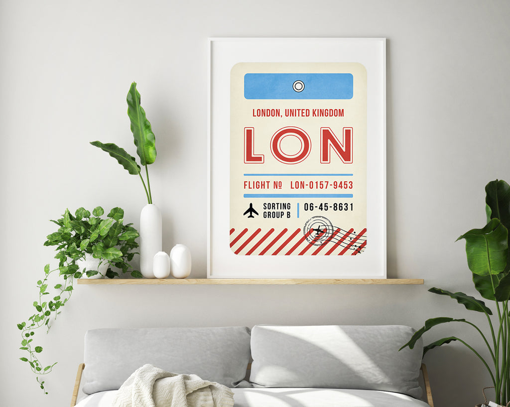 London, United Kingdom Luggage Tag Minimal Travel Poster